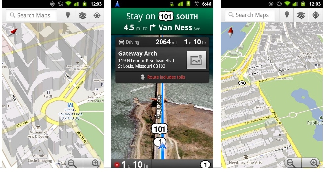 Google Maps 5.0 for Android With 3D view and Offline ... on google marketplace android, google map san francisco bay, social networking apps android, total commander android, ical android, onedrive android, google notes android, google calendar app for windows 8, baidu maps android, google groups android, windows media player android, google analytics android, google talk android, google map example, google bookmarks android, downloadable maps for android, google chrome browser android, chromebook android, google search bar android, google voice android,