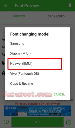 font model Huawei Mate 8