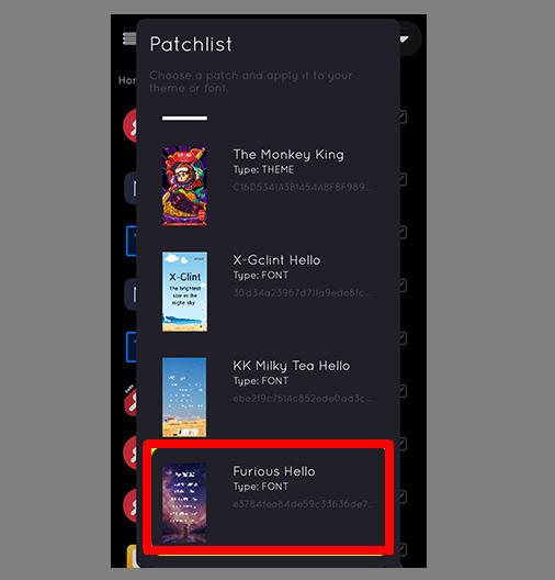 iMod Pro Font Patch list
